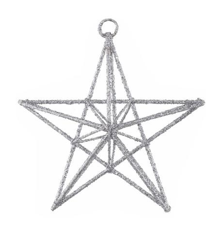 GLITTERED WIRE STARS - SILVER Silver