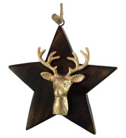 WOODEN STAR WITH DEER HEAD - GOLD - Gold