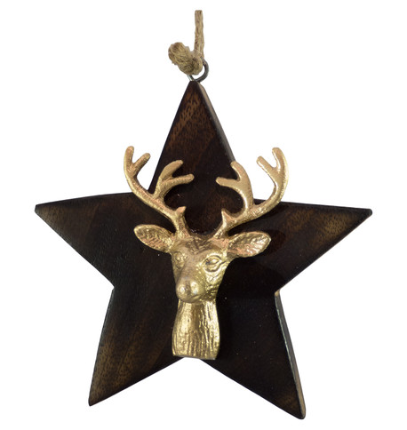 WOODEN STAR WITH DEER HEAD - GOLD Gold