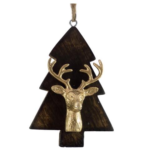 WOODEN TREE WITH DEER HEAD - GOLD Gold