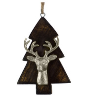 WOODEN TREE WITH DEER HEAD - SILVER - Silver