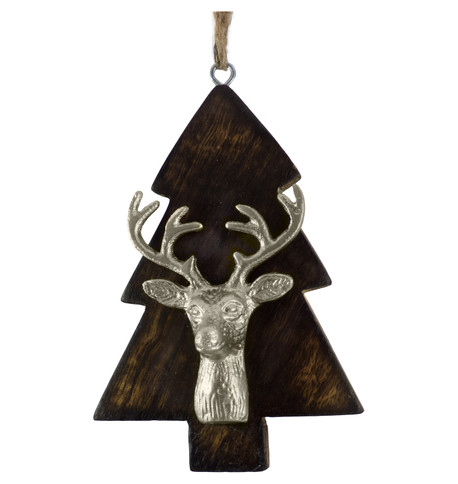 WOODEN TREE WITH DEER HEAD - SILVER Silver