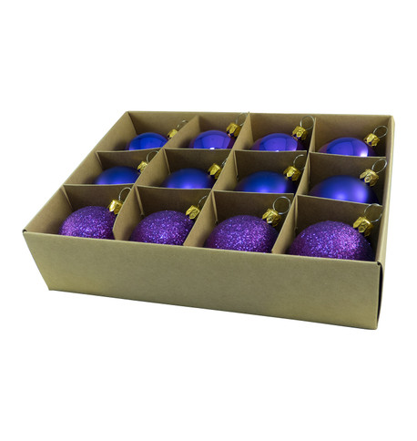 48mm BOXED BAUBLES - PURPLE Purple