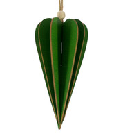 WOODEN POINTED DROP DECORATION - GREEN - Green