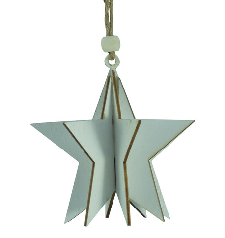 WOODEN STAR DECORATION - WHITE White