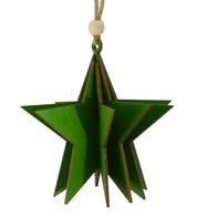 WOODEN STAR DECORATION - GREEN - Green