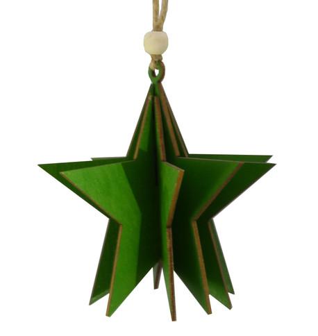 WOODEN STAR DECORATION - GREEN Green