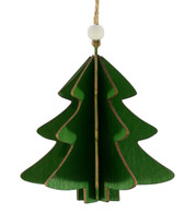 WOODEN TREE DECORATION - GREEN - Green