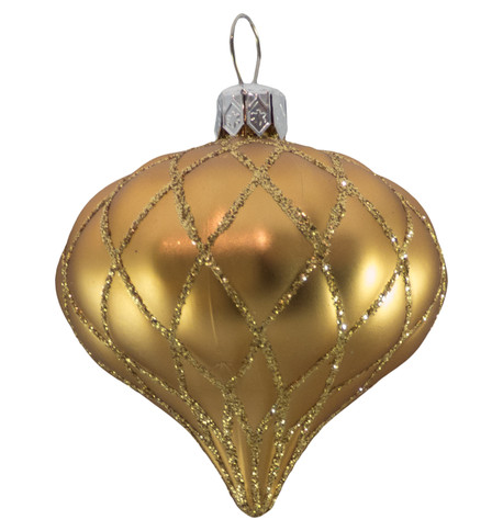 QUILTED ONION BAUBLES - GOLD MATT Gold
