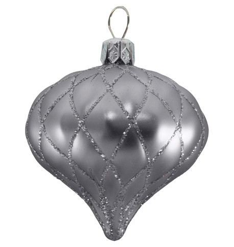 QUILTED ONION BAUBLES - SILVER MATT Silver