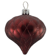 QUILTED ONION BAUBLES - BURGUNDY MATT - Red