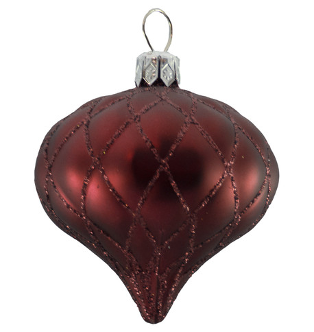 QUILTED ONION BAUBLES - BURGUNDY MATT Burgundy