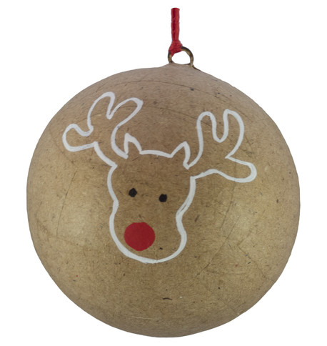 KRAFT BAUBLES - DEER OUTLINE Natural