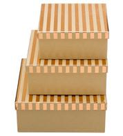 SQUARE KRAFT BOXES - COPPER STRIPES - Copper