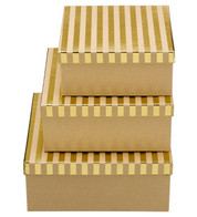 SQUARE KRAFT BOXES - GOLD STRIPES - Gold