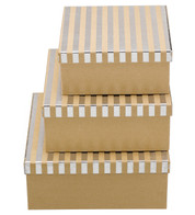 SQUARE KRAFT BOXES - SILVER STRIPES - Blue