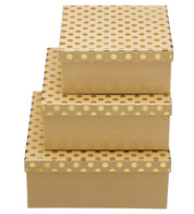 SQUARE KRAFT BOXES - GOLD SPOTS - Gold
