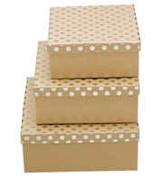 SQUARE KRAFT BOXES - SILVER SPOTS - Blue