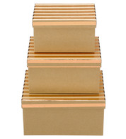 RECTANGULAR KRAFT BOXES - COPPER STRIPES - Copper