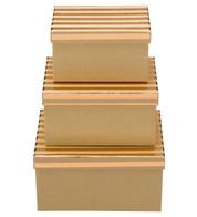 RECTANGULAR KRAFT BOXES - COPPER STRIPES - Copper