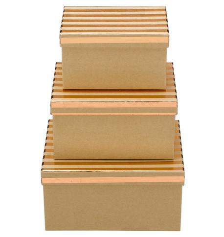 RECTANGULAR KRAFT BOXES - COPPER STRIPES Copper