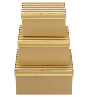 RECTANGULAR KRAFT BOXES - GOLD STRIPES - Gold