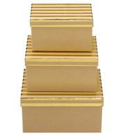 RECTANGULAR KRAFT BOXES - GOLD STRIPES - Gold