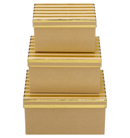 RECTANGULAR KRAFT BOXES - GOLD STRIPES Gold