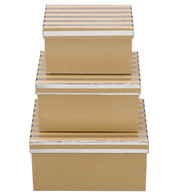 RECTANGULAR KRAFT BOXES - SILVER STRIPES - Blue