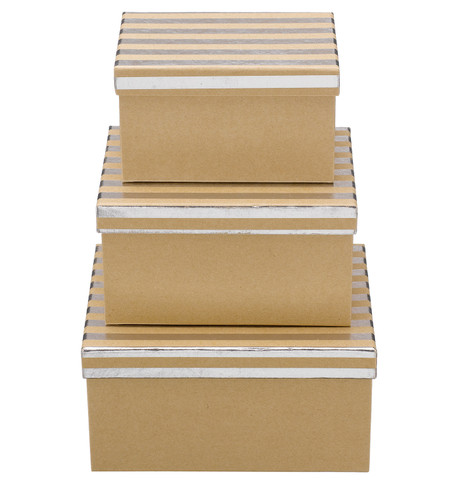 RECTANGULAR KRAFT BOXES - SILVER STRIPES Silver