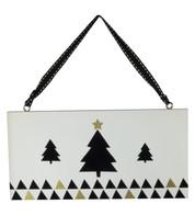 CHRISTMAS TREE HANGING SIGN - White
