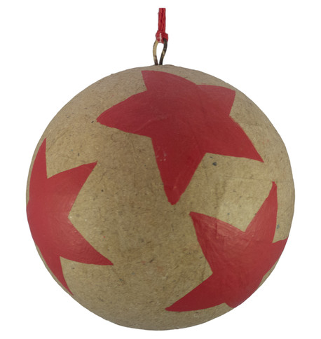 KRAFT BAUBLES - RED STARS Red
