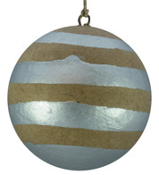KRAFT BAUBLES - SILVER STRIPES - Silver