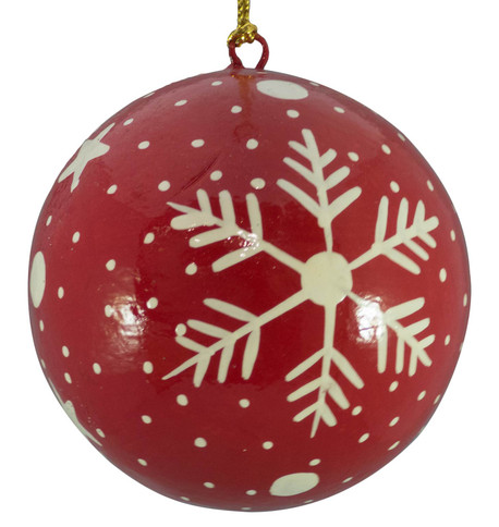RED & WHITE BAUBLES - Snowflakes & stars Red And White