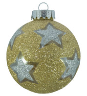 STAR GLITTER PATTERN BAUBLES - GOLD - Gold