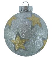 STAR GLITTER PATTERN BAUBLES - SILVER - Silver