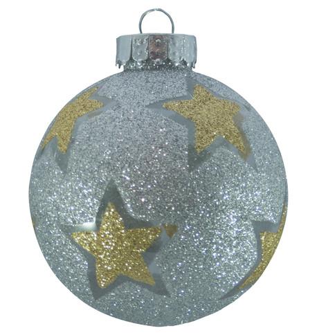 STAR GLITTER PATTERN BAUBLES - SILVER Silver