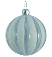 CLEAR RIBBED GLITTER BAUBLES - WHITE - White
