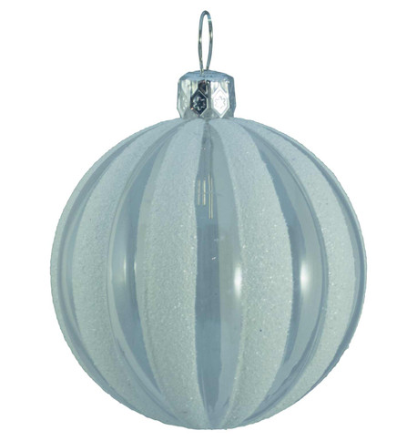 CLEAR RIBBED GLITTER BAUBLES - WHITE White