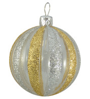 CLEAR RIBBED GLITTER BAUBLES - GOLD & SILVER - Gold