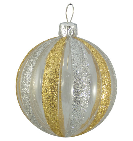 CLEAR RIBBED GLITTER BAUBLES - GOLD & SILVER Gold & Silver