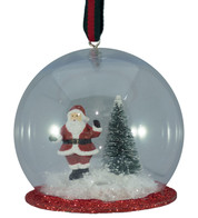 SANTA HANGING SNOW GLOBE - Clear