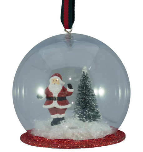 SANTA HANGING SNOW GLOBE Clear