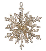 GLITTERED CORAL SNOWFLAKE - CHAMPAGNE - Gold