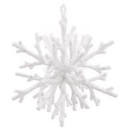 GLITTERED CORAL SNOWFLAKE - WHITE - White