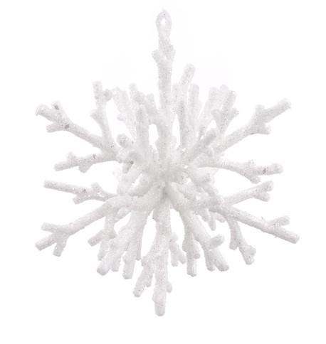 GLITTERED CORAL SNOWFLAKE - WHITE White