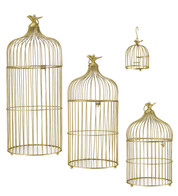 METAL BIRD CAGES - GOLD - Gold