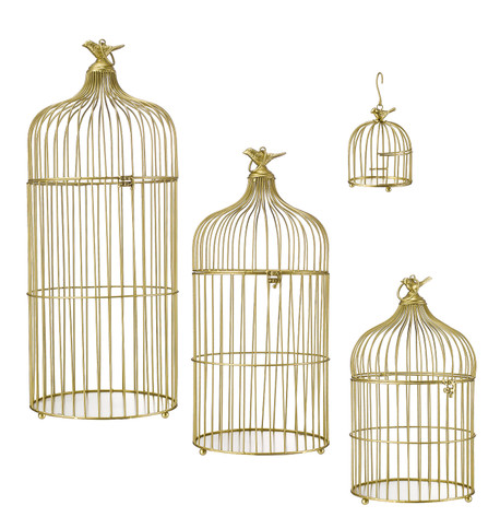 METAL BIRD CAGES - GOLD Gold