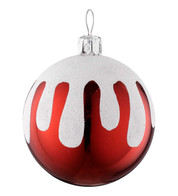 SNOW TOPPED BAUBLE - Red And White