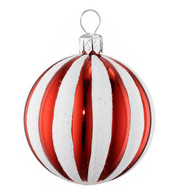RIBBED STRIPE BAUBLE - Red and White